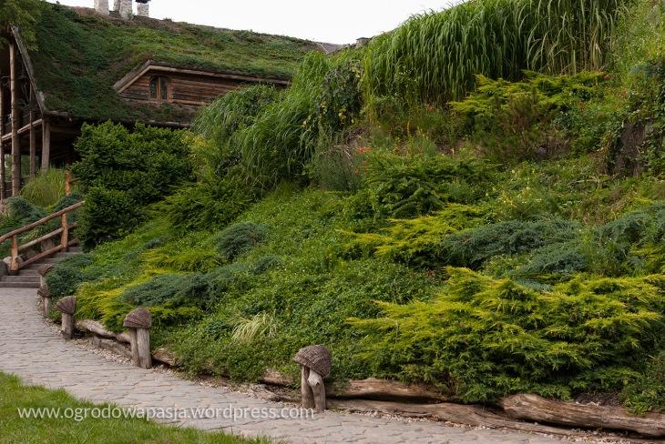 Ta sama rabata z drugiej strony. Budynek jest niemal niewidoczny- wszystko okala zieleń.