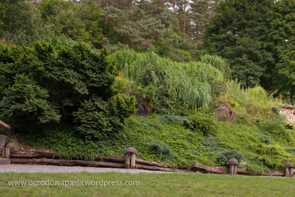 Piękny przykład zawłaszczenia krajobrazu. Wysokie sosny na dalszym planie od ogrodu odzielało ogrodzenie oraz droga, ale patrząc od strony ogrodu ciężko byłoby się tego domyślić